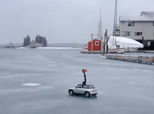 MINI on frozen harbor in Maine