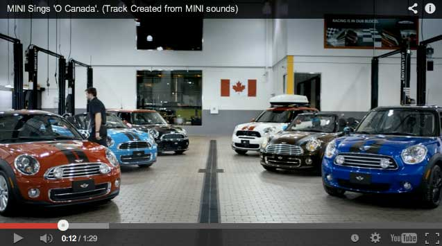MINI Coopers perform song
